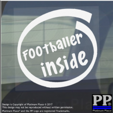 1 x Footballer Inside-Window,Car,Van,Sticker,Sign,Vehicle,Ball,Field,Pitch,Boots